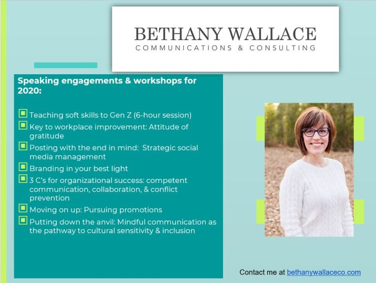 Bethany Wallace Communications Consulting 2020 speaking engagements